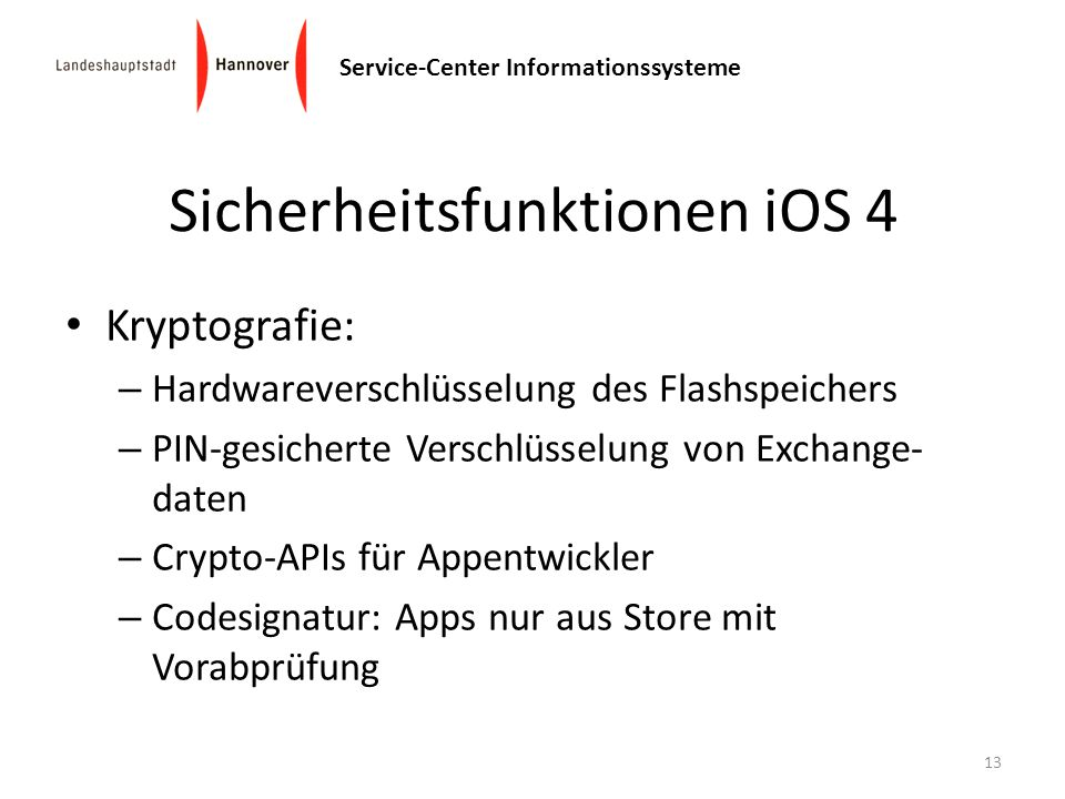 Sicherheitsfunktionen iOS 4