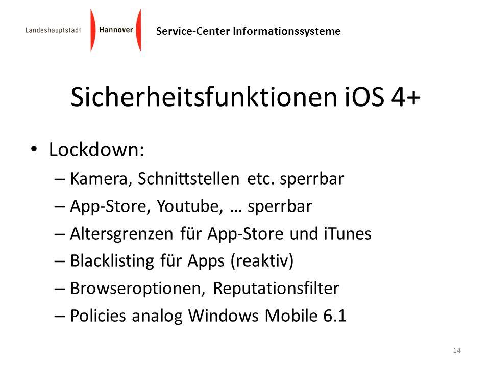 Sicherheitsfunktionen iOS 4+