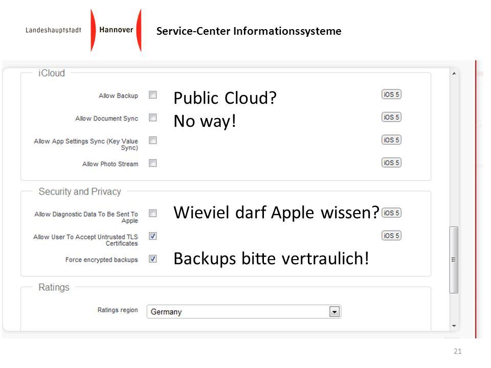 Public Cloud No way! Wieviel darf Apple wissen Backups bitte vertraulich!
