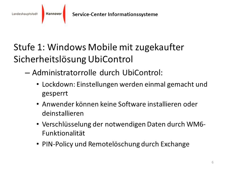 Stufe 1: Windows Mobile mit zugekaufter Sicherheitslösung UbiControl