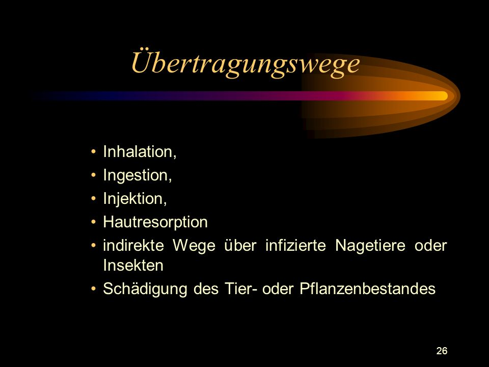 Übertragungswege Inhalation, Ingestion, Injektion, Hautresorption