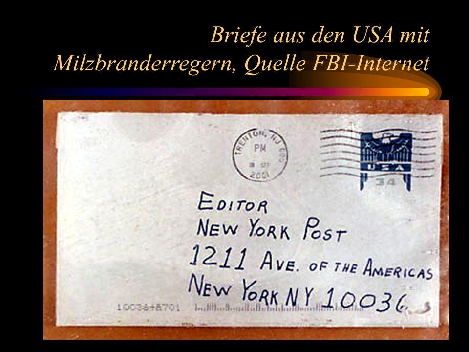 Briefe aus den USA mit Milzbranderregern, Quelle FBI-Internet