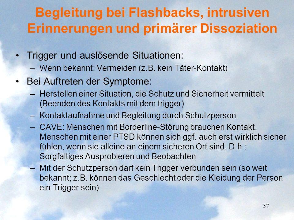 Begleitung bei Flashbacks, intrusiven Erinnerungen und primärer Dissoziation