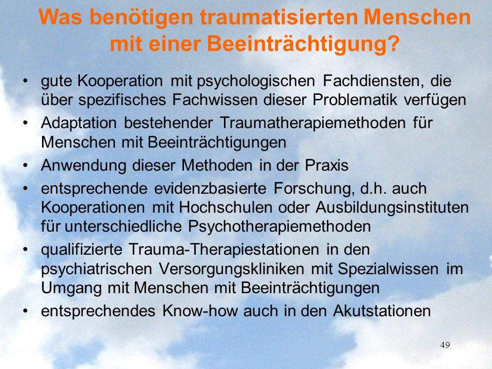 Was benötigen traumatisierten Menschen mit einer Beeinträchtigung