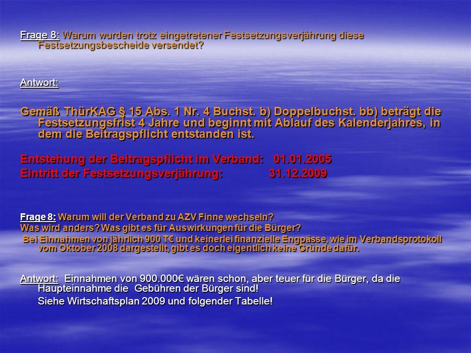Entstehung der Beitragspflicht im Verband: 01.01.2005