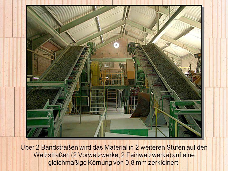 Über 2 Bandstraßen wird das Material in 2 weiteren Stufen auf den Walzstraßen (2 Vorwalzwerke, 2 Feinwalzwerke) auf eine gleichmäßige Körnung von 0,8 mm zerkleinert.