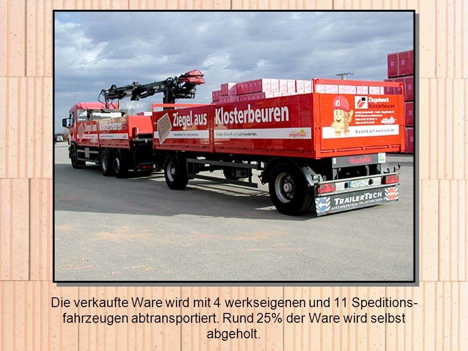 Die verkaufte Ware wird mit 4 werkseigenen und 11 Speditions-fahrzeugen abtransportiert.