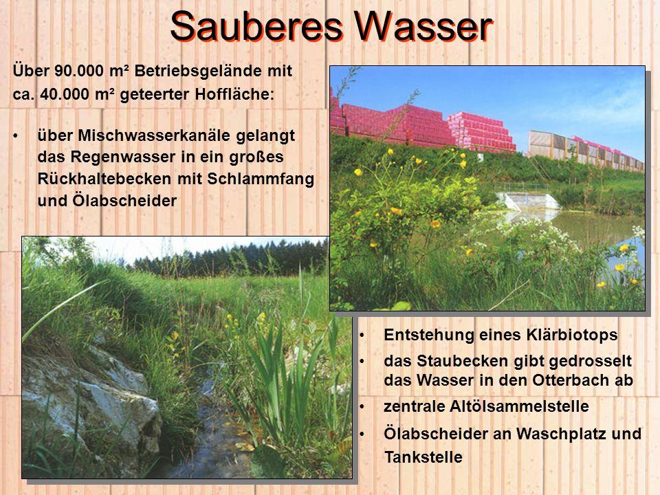 Sauberes Wasser Über 90.000 m² Betriebsgelände mit