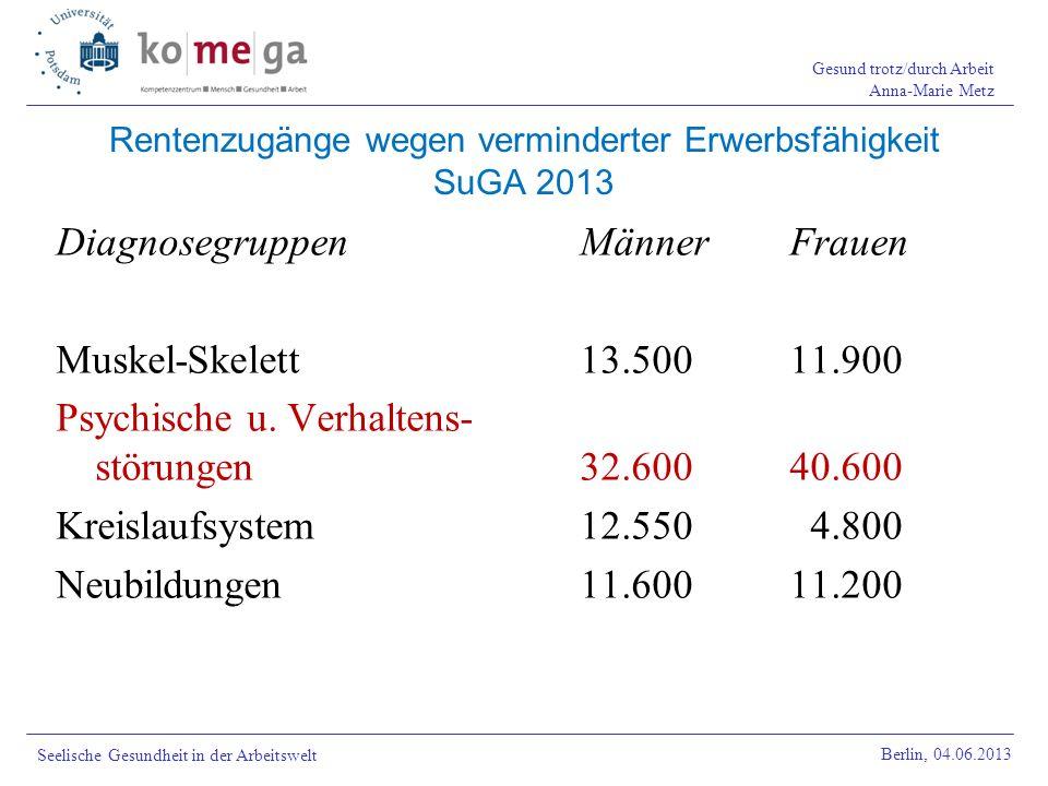 Rentenzugänge wegen verminderter Erwerbsfähigkeit SuGA 2013