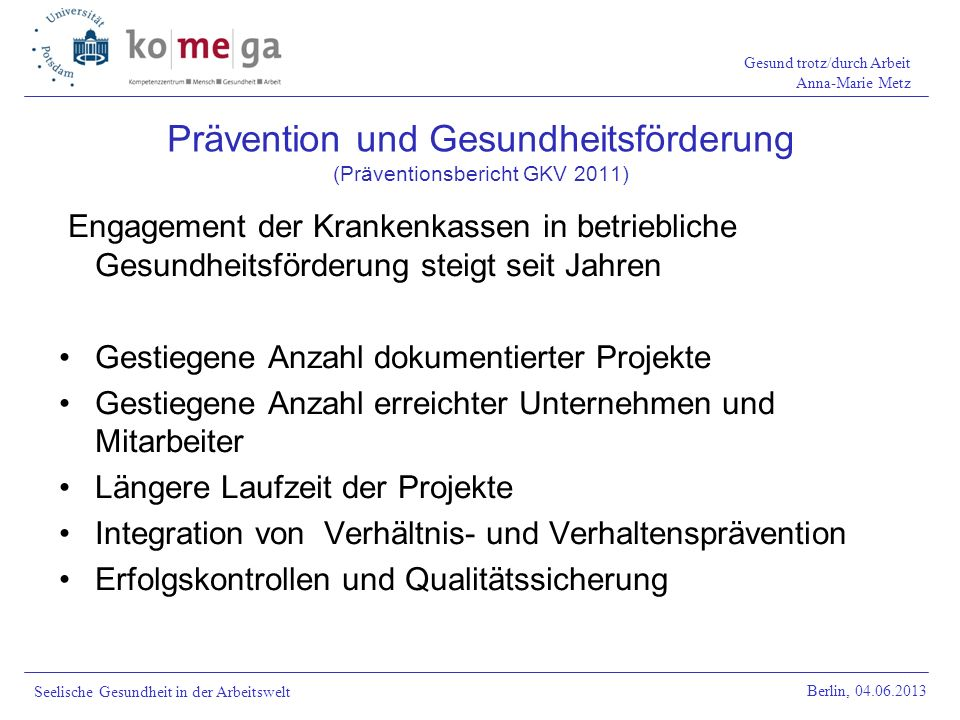 Prävention und Gesundheitsförderung (Präventionsbericht GKV 2011)