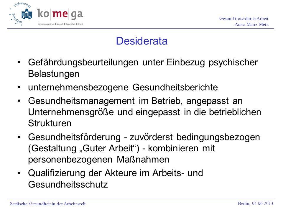 Desiderata Gefährdungsbeurteilungen unter Einbezug psychischer Belastungen. unternehmensbezogene Gesundheitsberichte.