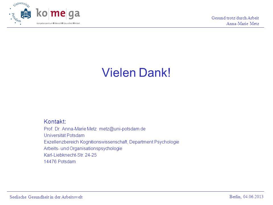 Vielen Dank! Kontakt: Prof. Dr. Anna-Marie Metz metz@uni-potsdam.de