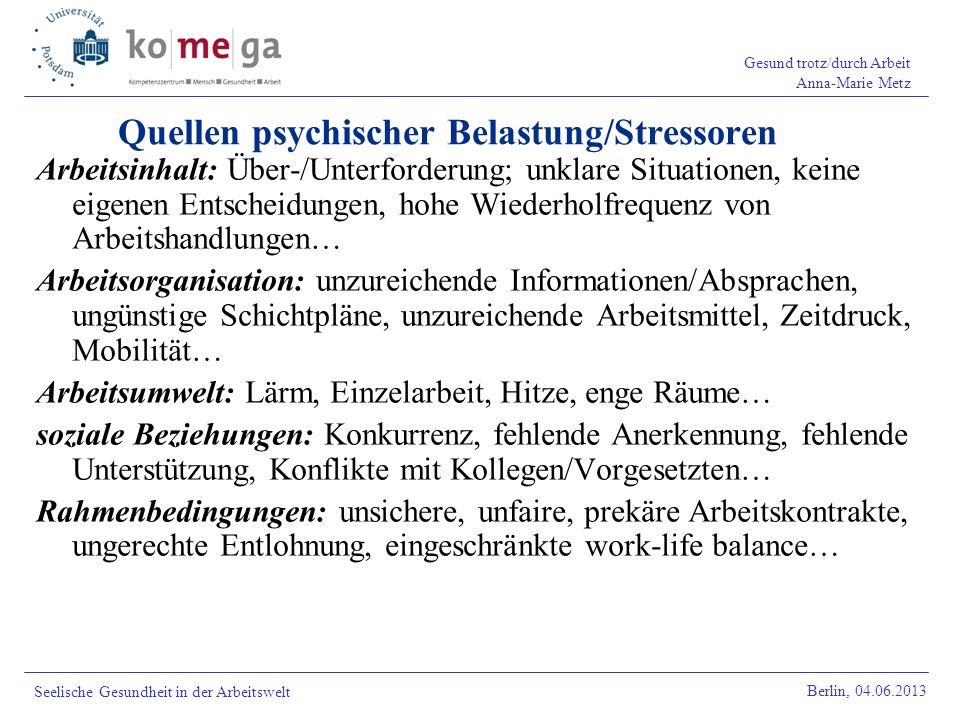 Quellen psychischer Belastung/Stressoren
