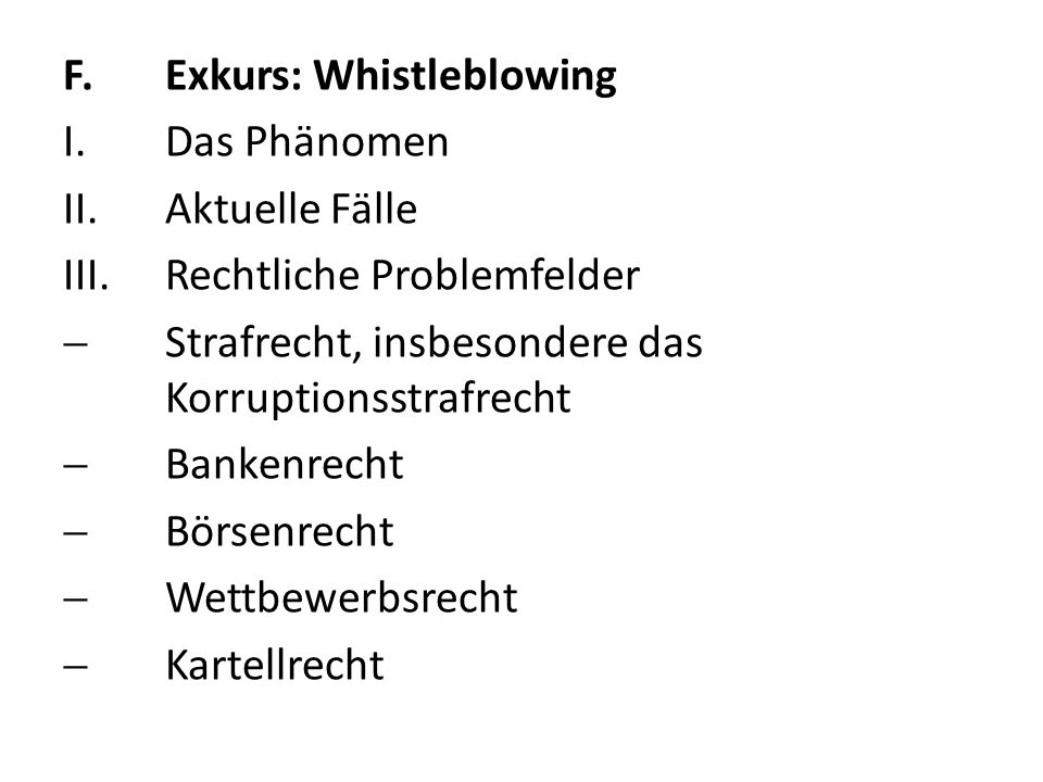 F. Exkurs: Whistleblowing