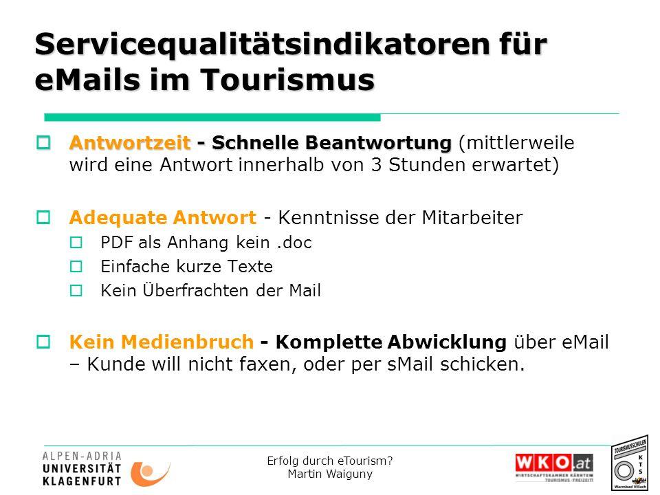 Servicequalitätsindikatoren für eMails im Tourismus
