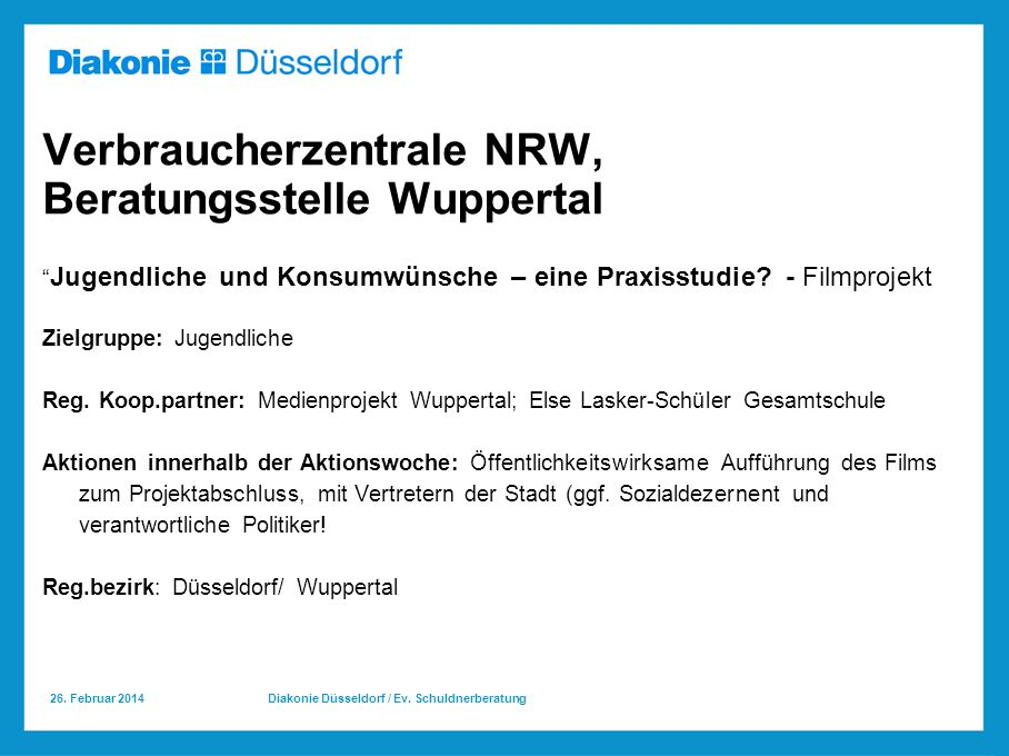 Verbraucherzentrale NRW, Beratungsstelle Wuppertal