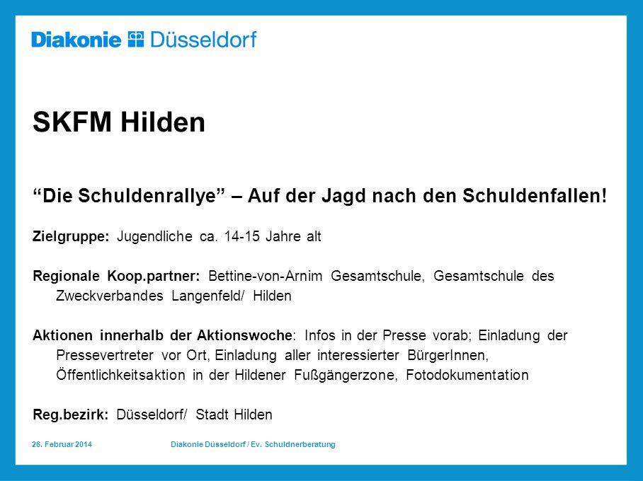 SKFM Hilden Die Schuldenrallye – Auf der Jagd nach den Schuldenfallen! Zielgruppe: Jugendliche ca. 14-15 Jahre alt.