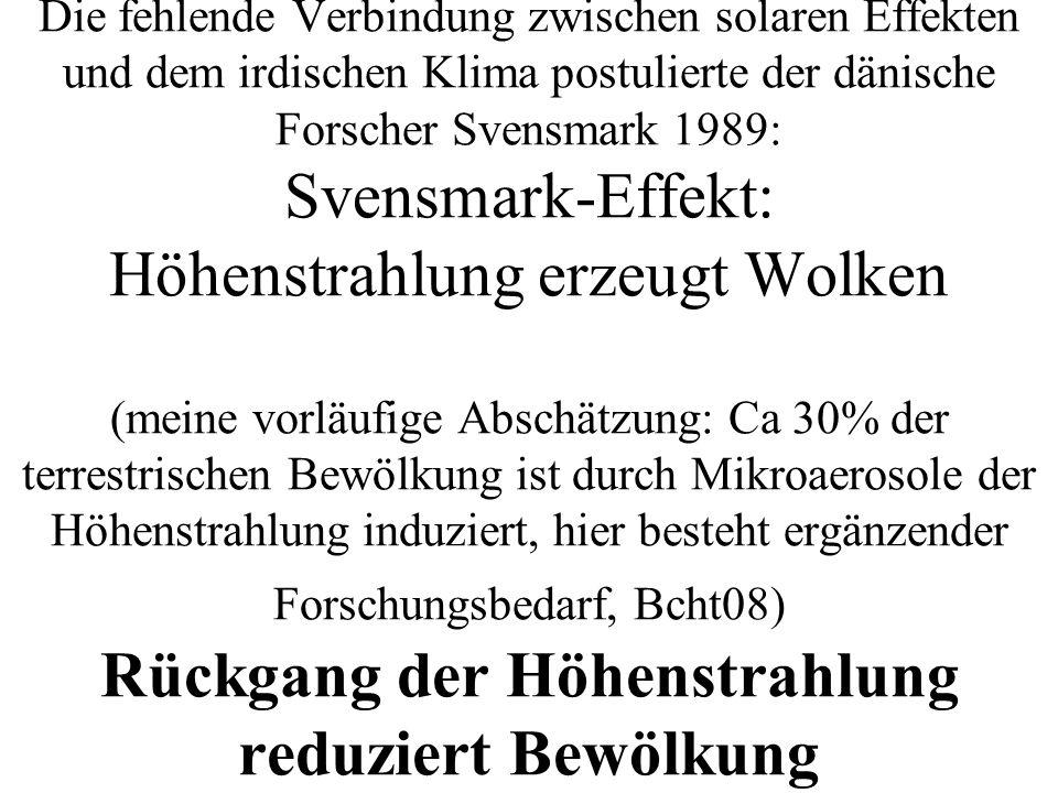 Die fehlende Verbindung zwischen solaren Effekten und dem irdischen Klima postulierte der dänische Forscher Svensmark 1989: Svensmark-Effekt: Höhenstrahlung erzeugt Wolken (meine vorläufige Abschätzung: Ca 30% der terrestrischen Bewölkung ist durch Mikroaerosole der Höhenstrahlung induziert, hier besteht ergänzender Forschungsbedarf, Bcht08) Rückgang der Höhenstrahlung reduziert Bewölkung