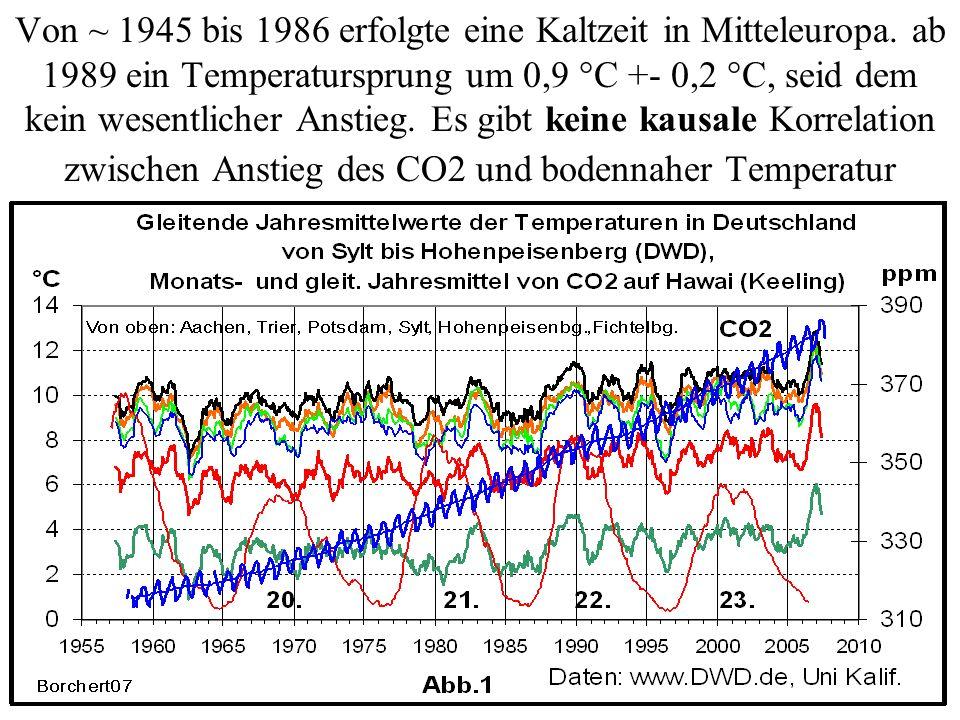 Von ~ 1945 bis 1986 erfolgte eine Kaltzeit in Mitteleuropa