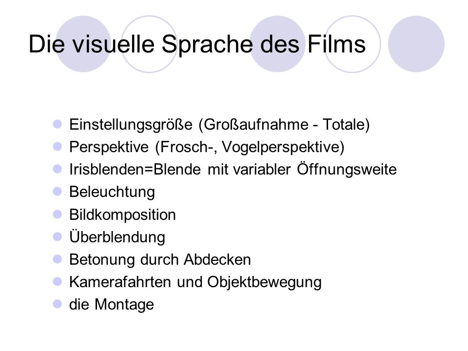 Die visuelle Sprache des Films