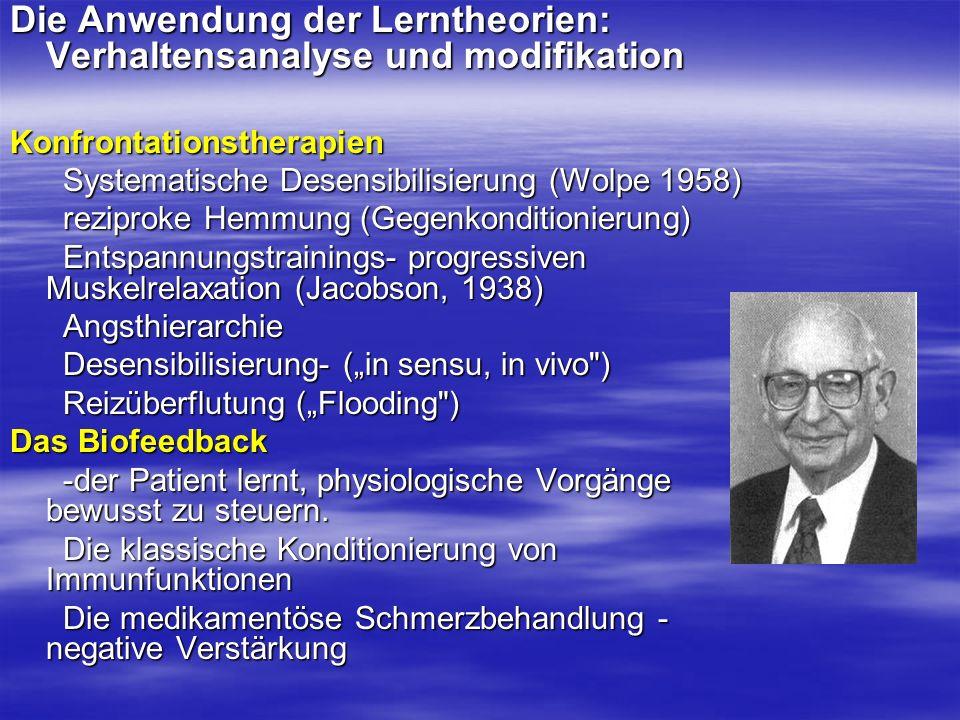 Die Anwendung der Lerntheorien: Verhaltensanalyse und modifikation