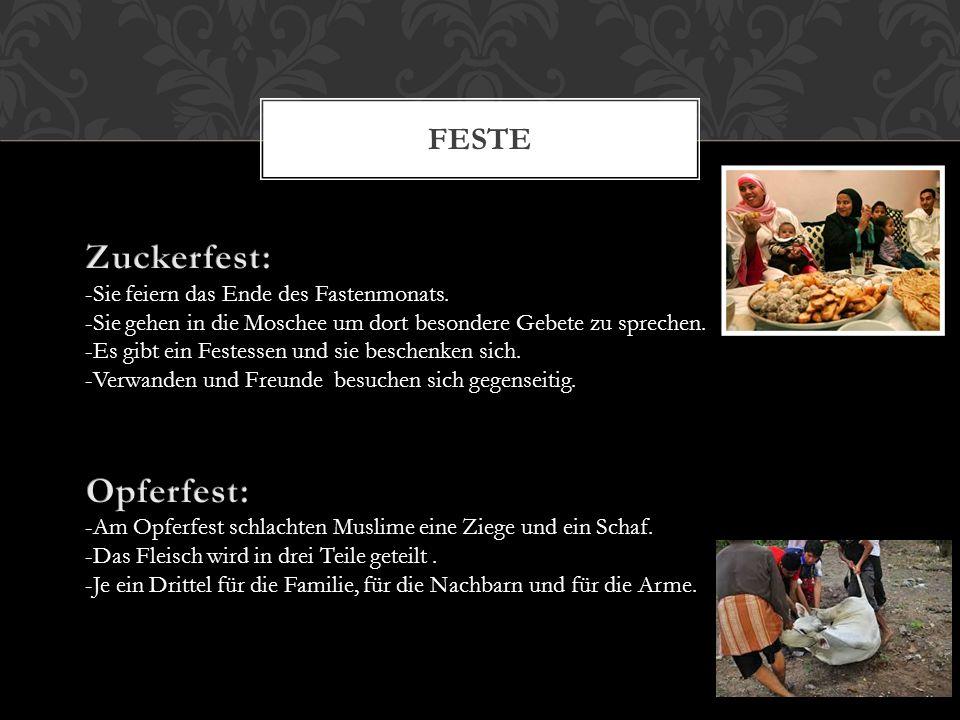 Zuckerfest: Opferfest: Feste -Sie feiern das Ende des Fastenmonats.