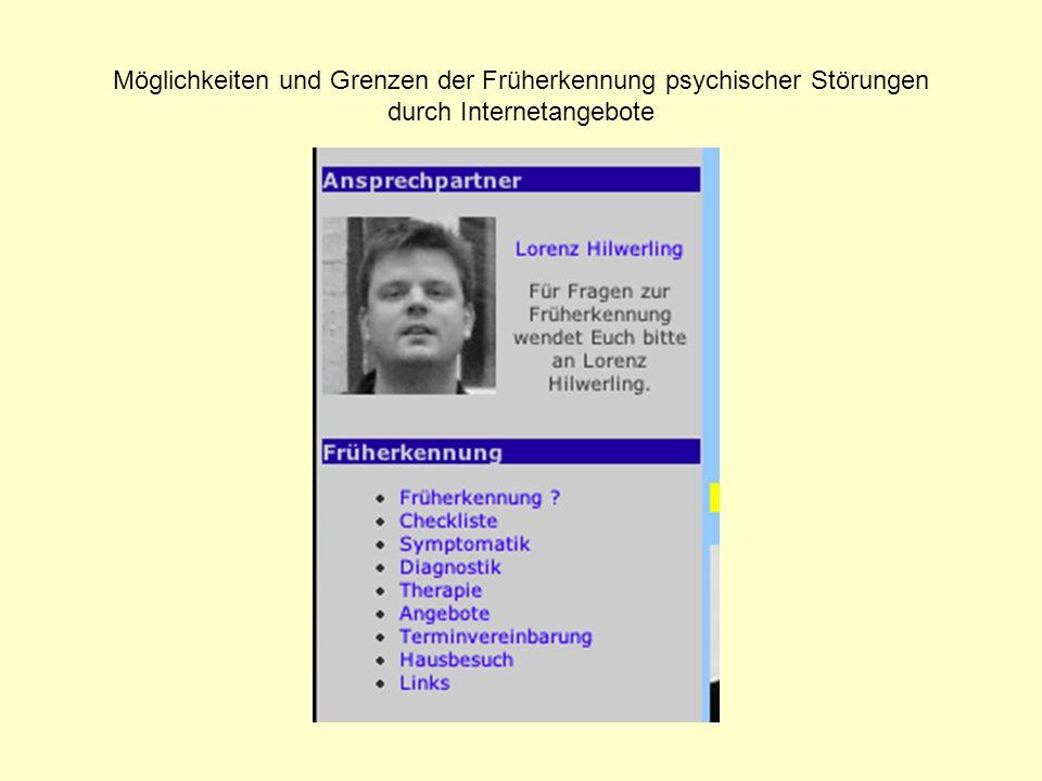 Möglichkeiten und Grenzen der Früherkennung psychischer Störungen durch Internetangebote