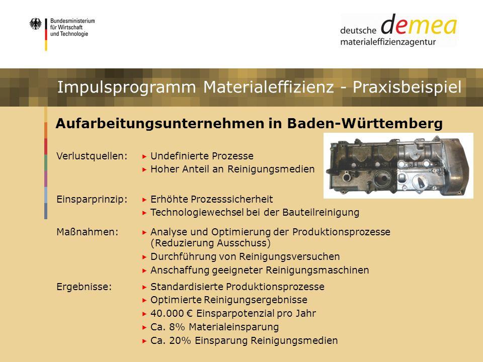 Impulsprogramm Materialeffizienz - Praxisbeispiel