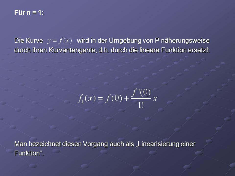 Für n = 1: Die Kurve wird in der Umgebung von P näherungsweise durch ihren Kurventangente, d.h.