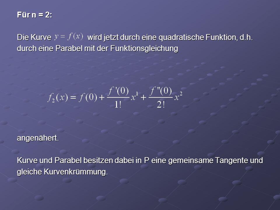 Für n = 2: Die Kurve wird jetzt durch eine quadratische Funktion, d. h