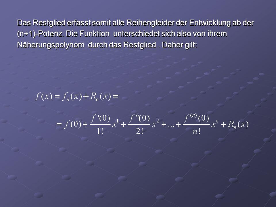 Das Restglied erfasst somit alle Reihengleider der Entwicklung ab der (n+1)-Potenz.