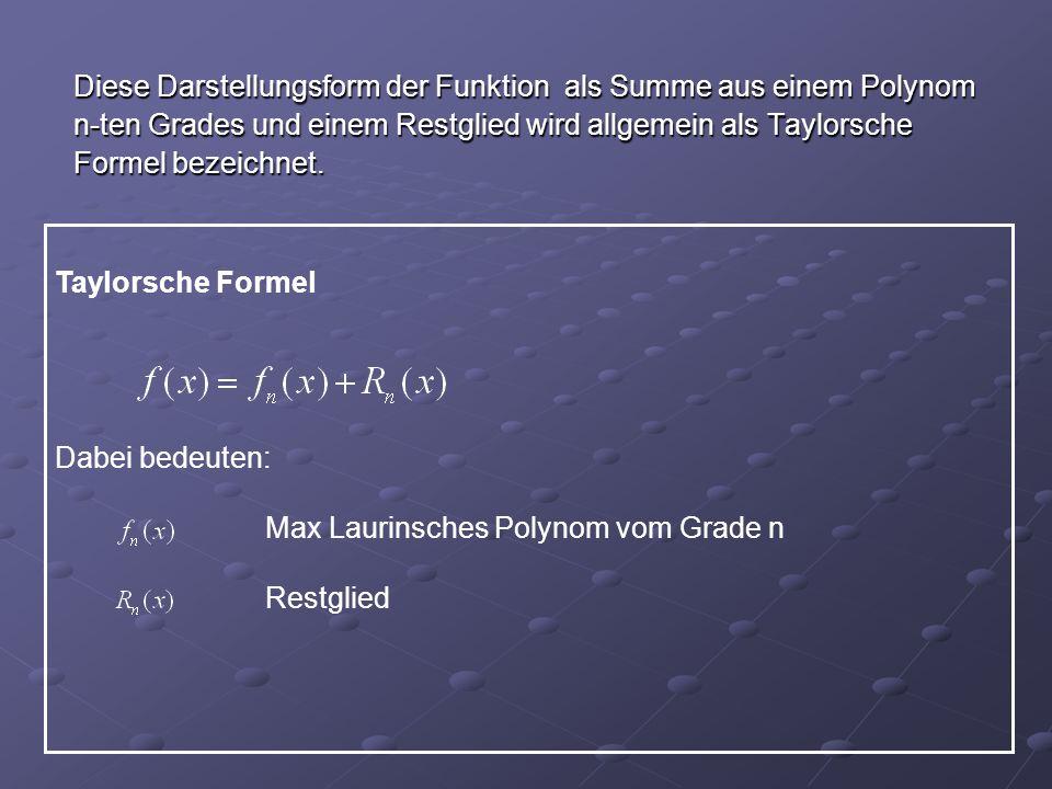 Diese Darstellungsform der Funktion als Summe aus einem Polynom
