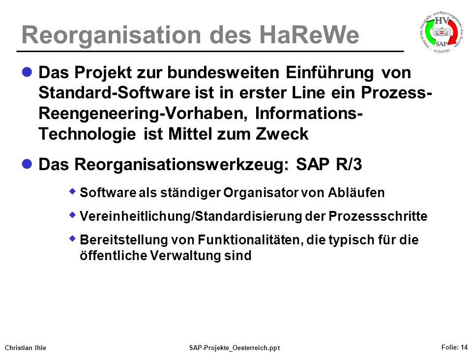 Reorganisation des HaReWe