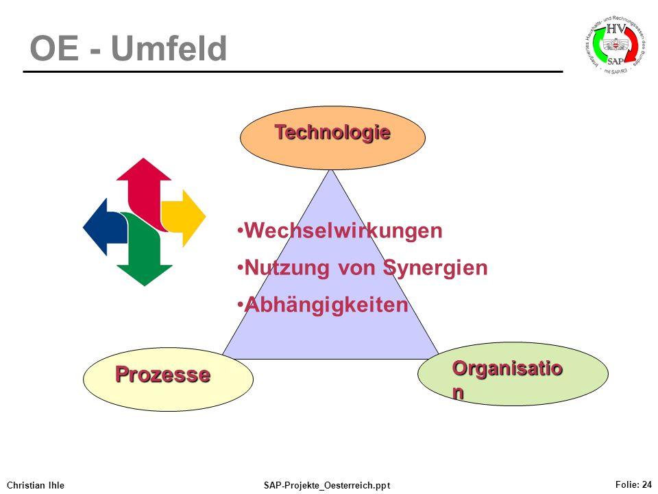 OE - Umfeld Wechselwirkungen Nutzung von Synergien Abhängigkeiten