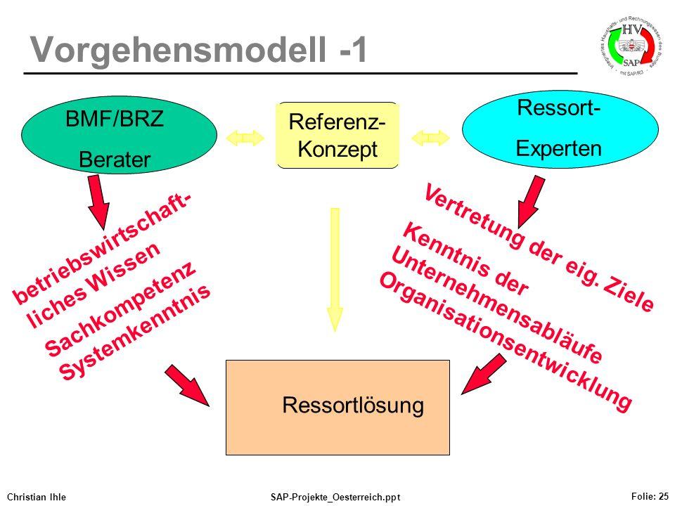 Vorgehensmodell -1 Ressort- BMF/BRZ Referenz-Konzept Experten Berater