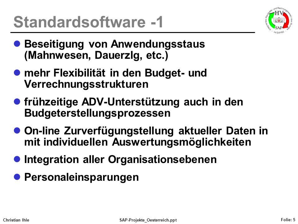 Standardsoftware -1 Beseitigung von Anwendungsstaus (Mahnwesen, Dauerzlg, etc.) mehr Flexibilität in den Budget- und Verrechnungsstrukturen.