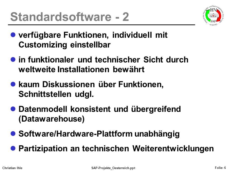 Standardsoftware - 2 verfügbare Funktionen, individuell mit Customizing einstellbar.