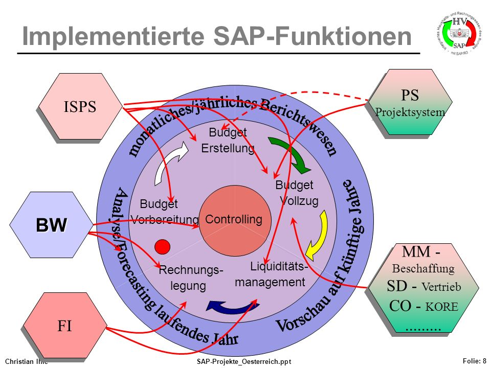 Implementierte SAP-Funktionen