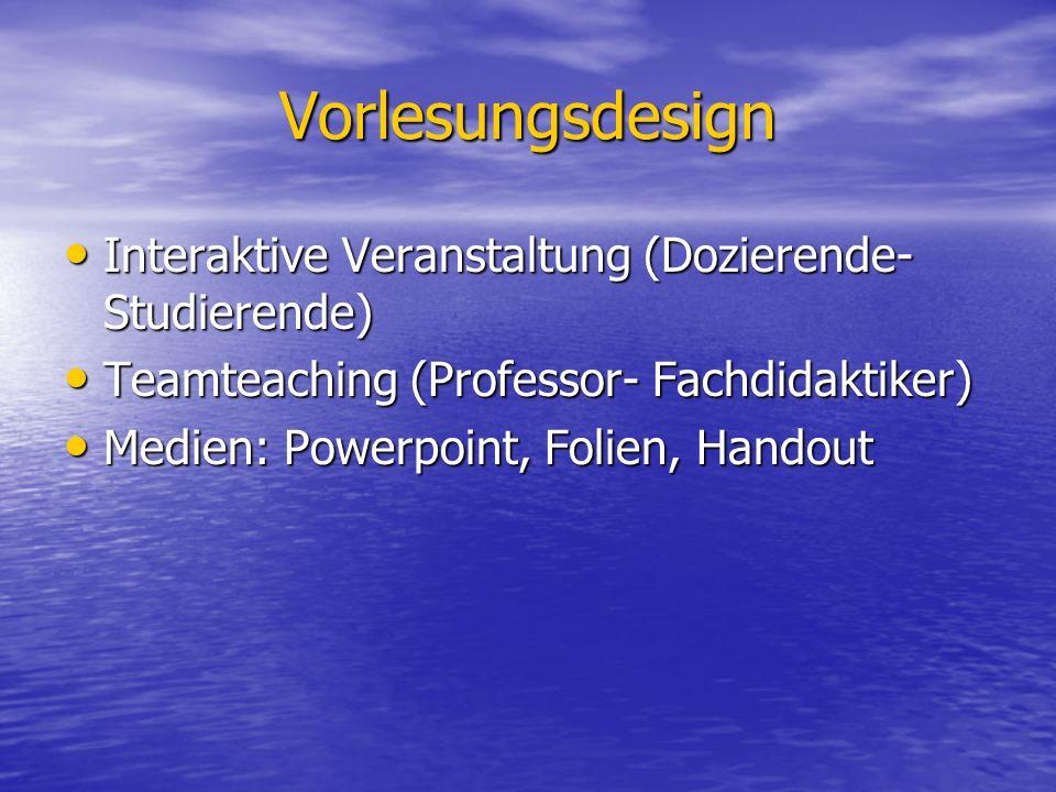 Vorlesungsdesign Interaktive Veranstaltung (Dozierende- Studierende)