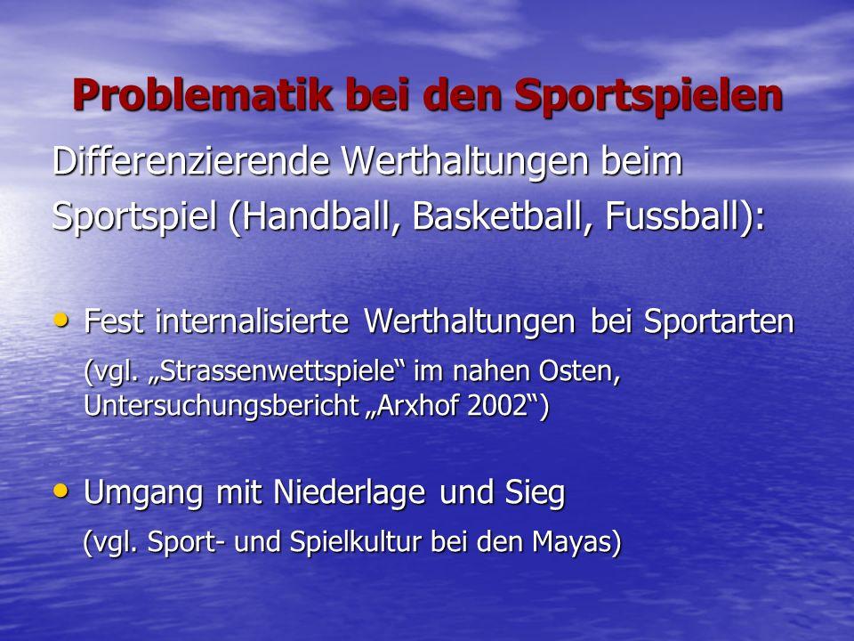 Problematik bei den Sportspielen