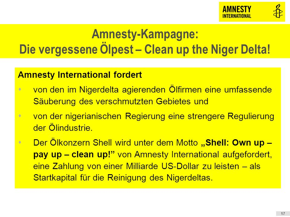 Amnesty-Kampagne: Die vergessene Ölpest – Clean up the Niger Delta!