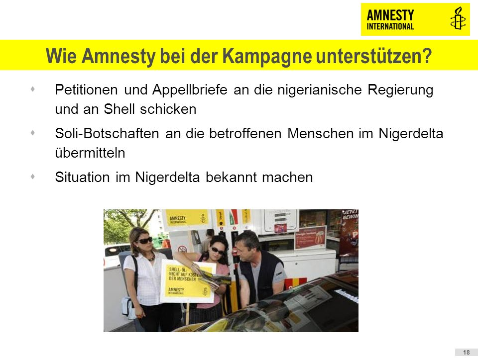Wie Amnesty bei der Kampagne unterstützen