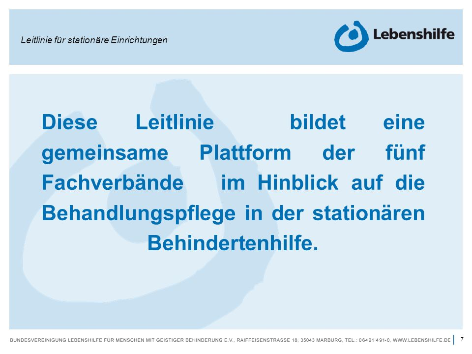 Leitlinie für stationäre Einrichtungen