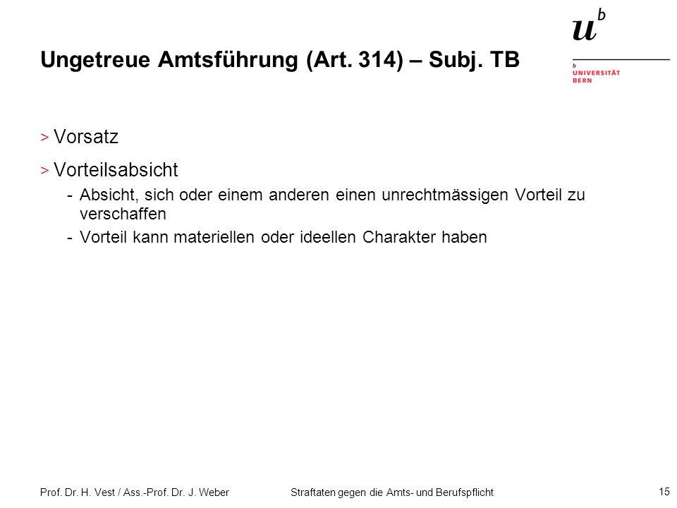 Ungetreue Amtsführung (Art. 314) – Subj. TB