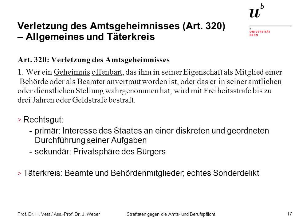 Verletzung des Amtsgeheimnisses (Art. 320) – Allgemeines und Täterkreis