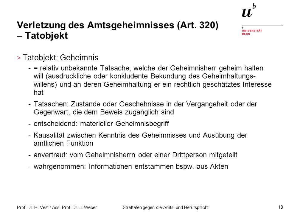 Verletzung des Amtsgeheimnisses (Art. 320) – Tatobjekt