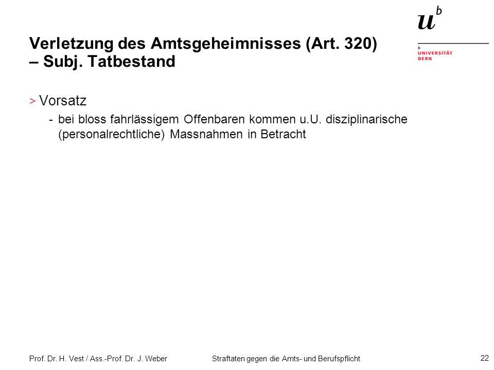 Verletzung des Amtsgeheimnisses (Art. 320) – Subj. Tatbestand
