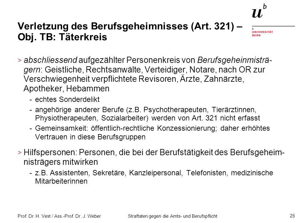 Verletzung des Berufsgeheimnisses (Art. 321) – Obj. TB: Täterkreis