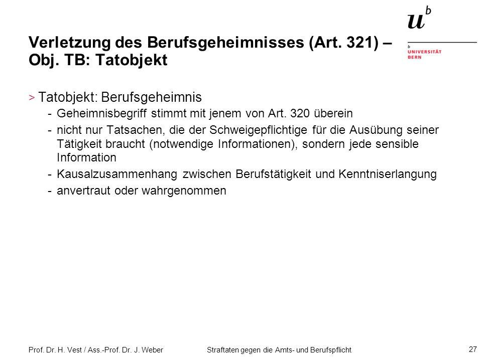 Verletzung des Berufsgeheimnisses (Art. 321) – Obj. TB: Tatobjekt