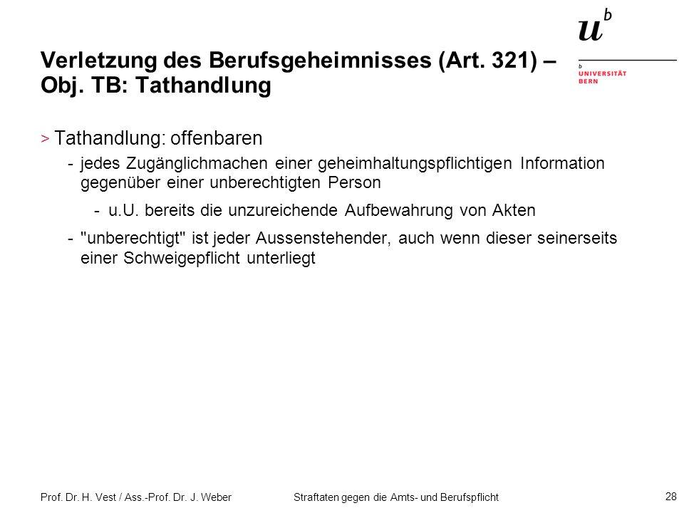 Verletzung des Berufsgeheimnisses (Art. 321) – Obj. TB: Tathandlung